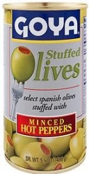 GOYA- MANZANILLA OLIVES  STUFFED W  MINCED HOT PEPPERS 338g x 12