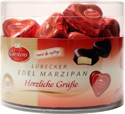Carstens - Lubeck Marzipan Hearts in Tub 40pce x 12.5g 500g x1